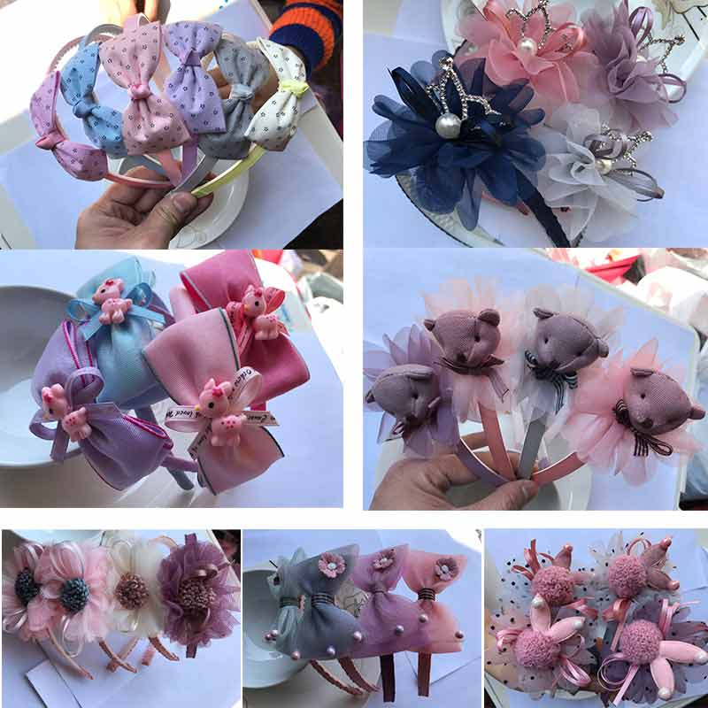 Kids Girls Hair Clip Headwear Cute Baby Princess Hair Bands Hairpin Bowknot Toddler Girl Headbands Elastic Hair Bands Wholesale