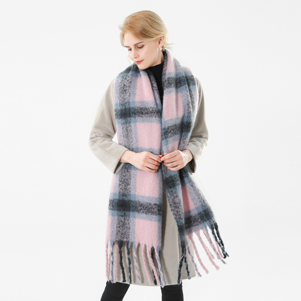 Image 3 - Winfox 2018 New Brand Winter Pink Grey Warm Tartan Plaid Cashmere Blanket Scarves Shawl Foulard Scarf For Womens Ladies-in Women's Scarves from Apparel Accessories