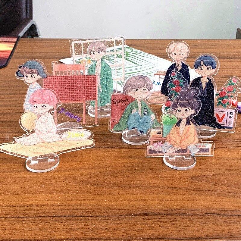 Kpop Bangtan Boys Acrylic Star Desk Stand Board JUNGKOOK JIMIN RM V J HOPE SUGA Cartoon Transparent Car Stand Board Decor