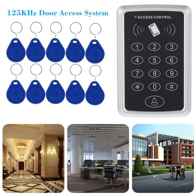 Rfid Proximity Door Entry Access Control System 10 Key Fobs In