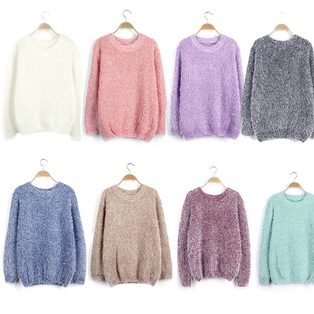 New Winter Autumn Mohair Sweater Women Hedging Short Paragraph Korean Style Pullovers Thick Loose Clothes H9