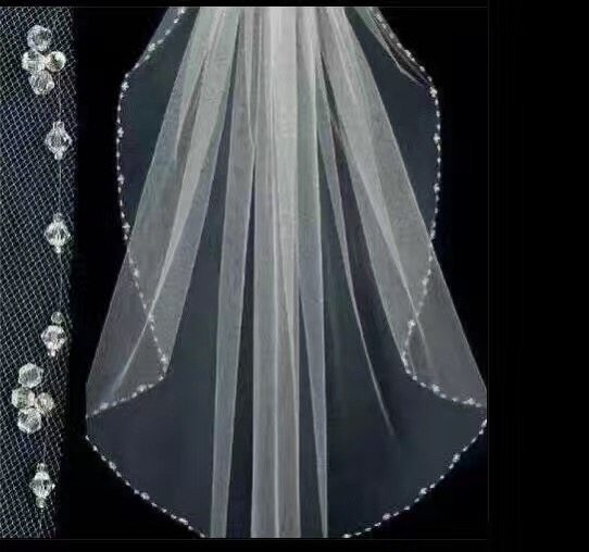 75x140cm Tulle Ivory Short Wedding Veils With Crystal Elbow Length Bridal Veil Comb
