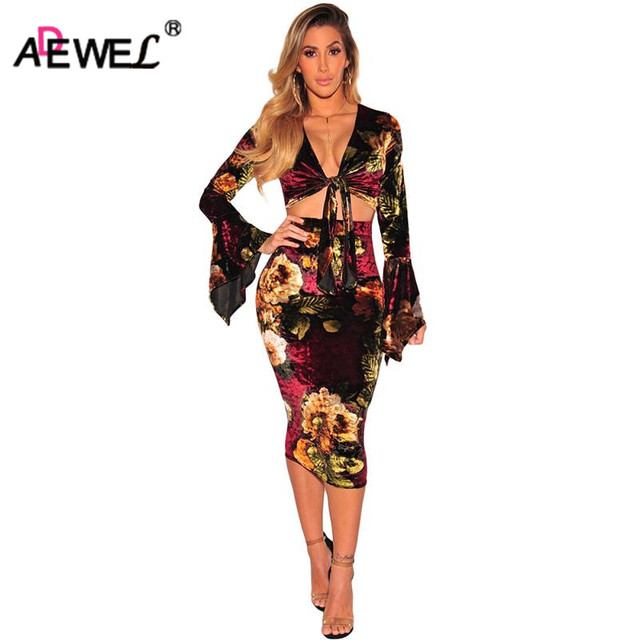 f5acd2c1cc37 ADEWEL Autumn Women Floral Printed Velvet Dress Two Piece Set Sexy Bodycon  Long Flare Sleeve Tie Up Crop Top   Midi Dress Sets
