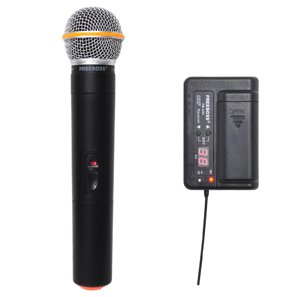 FREEBOSS 1 Way 100 channel Handheld Transmitter Wireless Microphone Camera Microphone Party Karaoke Microphone freeboss kv 22 vhf 2 handheld wireless microphone dynamic capsule family party mixed output wireless microphone