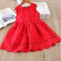 Hurave сетки Повседневное кружевное с вышивкой одежда принцессы для маленьких девочек; летнее платье без рукавов детская одежда платья