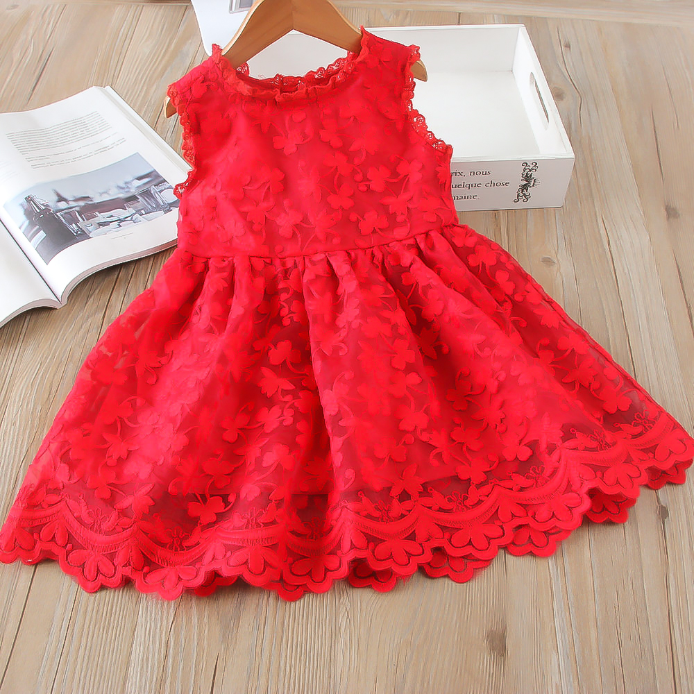 Hurave mesh Casual lace embroidery princess baby Girl clothes Summer sleeveless dress Kids Clothes dresses