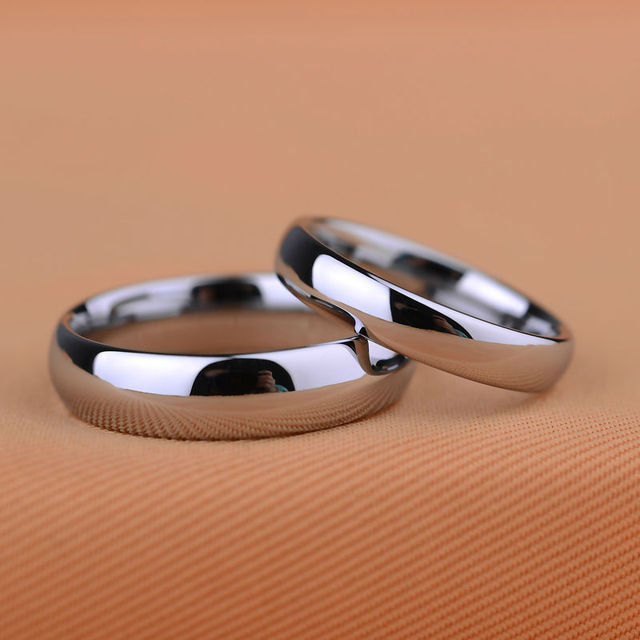 customize classic design never fade scratch proof white tungsten wedding rings couples rings size 4 - Size 4 Wedding Rings