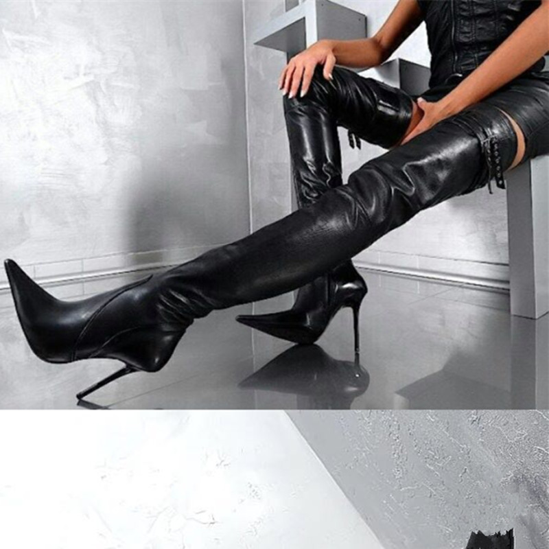 Woman Botas Mujer Black Pointed Toe Long Boots Leather Stiletto High Heels Dress Runway Shoes Lady Over-the-knee Boots 2019Woman Botas Mujer Black Pointed Toe Long Boots Leather Stiletto High Heels Dress Runway Shoes Lady Over-the-knee Boots 2019