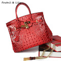 Foxtail & Lily Famous Designer Bags Women Crocodile Pattern Genuine Leather Handbags High Quality Chain Shoulder Crossbody Bag