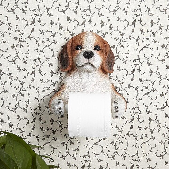 L taille 3D porte-serviettes en papier toilette porte-rouleau de papier toilette boîte de papier étagères salle de bain tenture murale résine chien papier serviette cadre