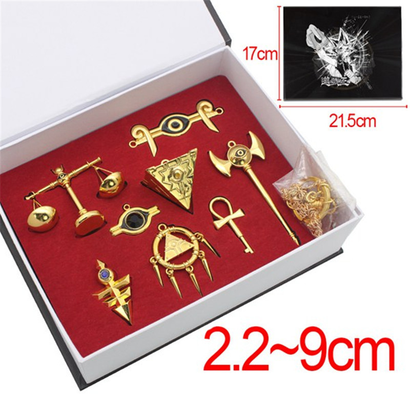 Shop For Cheap 8pcs/set Anime Cosplay Manga Yu-gi-oh Muto Yugi Aibo Atum Yugioh Millenium Yuma Tsukumo Pendant Triangle Logo Keychain Necklace Costume Props Costumes & Accessories
