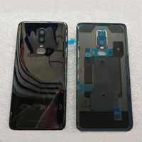 New Tempered Glass Back Cover For OnePlus 6 Spare Parts Back Battery Cover Door Housing+Camera frame+Flash cover Free shipping