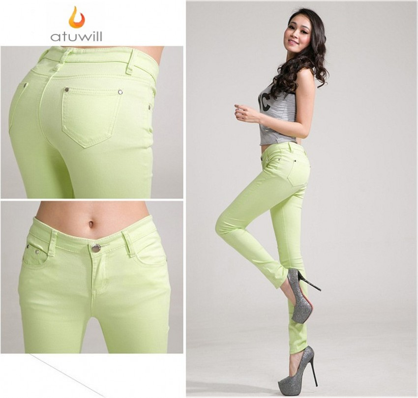 Candy Color   jeans   womens Pencil Pants Size 25-34 hot woman mid waist sexy skinny feminina pants femme plus size Trousers Fashion