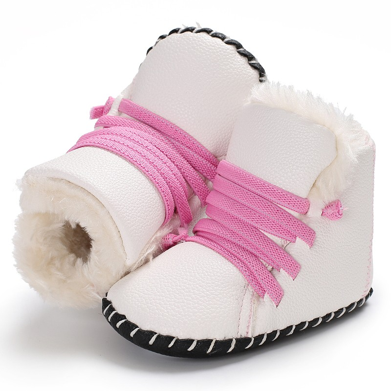 New Autumn And Winter Baby Warm Shoes PU Plus Cashmere High Quality Male Baby Soft School Shoes