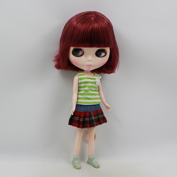 무료 배송 공장 blyth 인형 130bl12532 앞머리 와인 빨간 머리 정상적인 몸 1/6 선물 장난감-에서인형부터 완구 & 취미 의  그룹 1