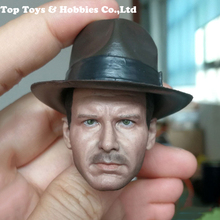 все цены на 1/6 Scale Harrison Ford Head Sculpt Carved Indiana Jones head Normal/Damaged Version with hat Cap for 12'' Male Figure body онлайн