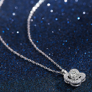 Image 2 - Fashion Flower Crystal Silver Pendant Necklaces for Women 925 Silver Chain Wedding Jewelry Lover Gift