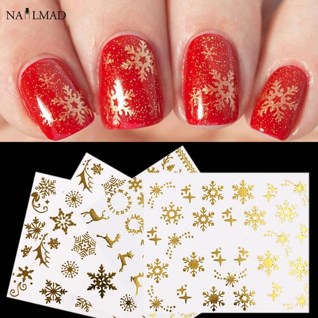 4sheets Gold Snowflake Nail Art Water Decals Christmas Snow Nail