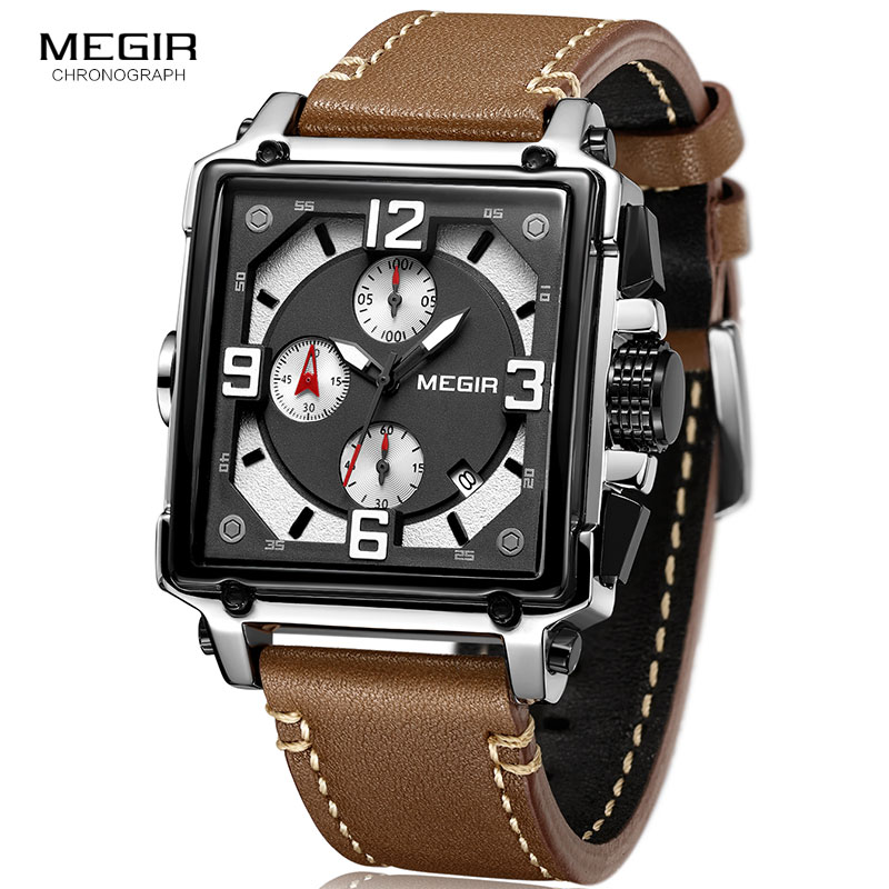 MEGIR Official Quartz Men Watches Clock Army Sports Casual Chronograph Stop Watch Leather Relogios Masculino 2061 2018 fashion digital professional handheld lcd chronograph sports stopwatch stop watch teacher s watches men s relogios f80