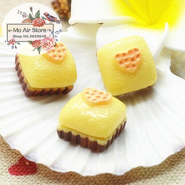 Lemon Cake 10PCS 15mm Resin Flatback Cabochon Miniature Food Art Supply Decoration Charm Craft