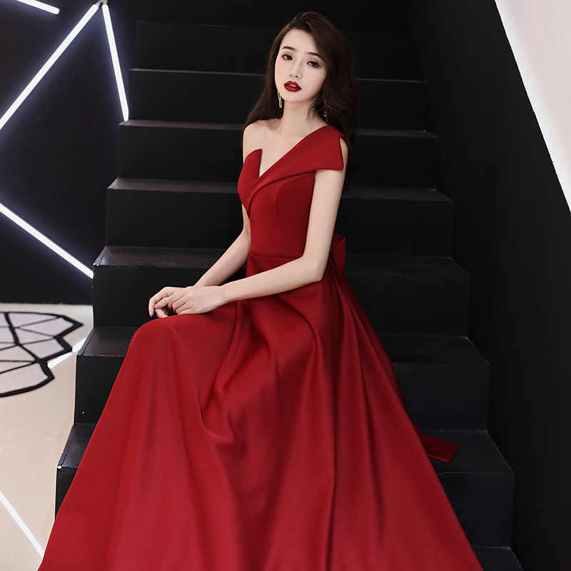 553aaafe3f ... Red Bride Fashion Dresses Women Sexy V-Neck One-Shoulder Sleeveless  Plus Size Party ...