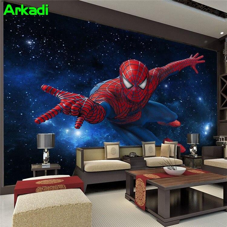3D Stereoscopic TV Background Wallpaper Living Room Bedroom Mural Bar KTV Theme Box Spiderman Mural Children's Room
