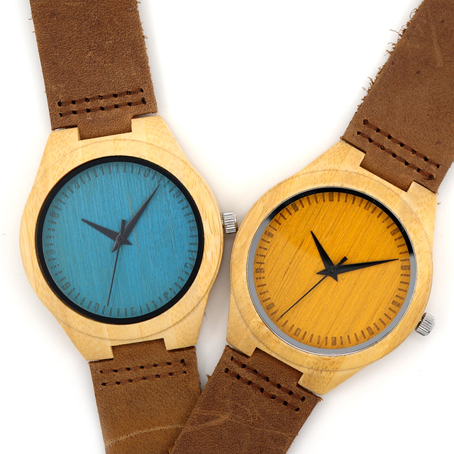Blue or Yellow Leather Wood Watch