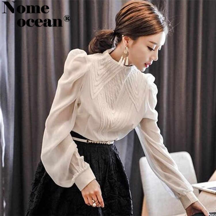 f01d746e8c4 Винтаж вышивка спереди шифон блузки с пышными рукавами стенд воротник Для  женщин рубашка с длинными рукавами