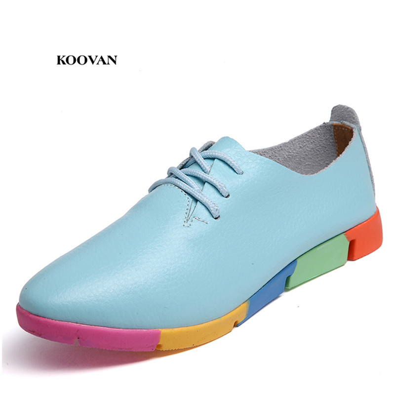 Koovan Real Leather Mother Women's Flats 2018 New Spring Autumn Pregnant Women Shoes Casual Trade Large Size 44 Peas Shoes 2017 new genuine leather mother shoes soft bottom shallow mouth flats large size casual elderly shoes spring autumn women shoes
