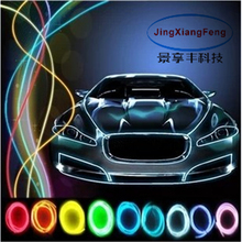 JingXiangFeng 10 colors Car Styling 5M flexible neon light glow EL With 12V interior lights lighter DIY Decorative Dash Door