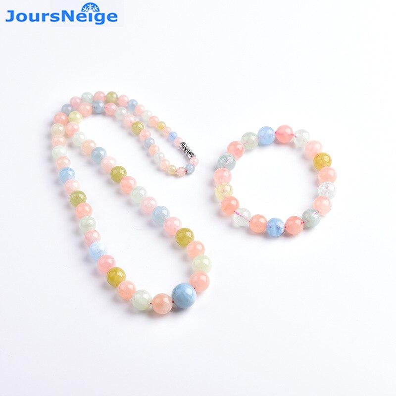 En gros véritable compteur Morgan pierre naturelle bijoux ensembles tour collier Bracelet cristal chanceux pour les femmes fille Simple bijoux