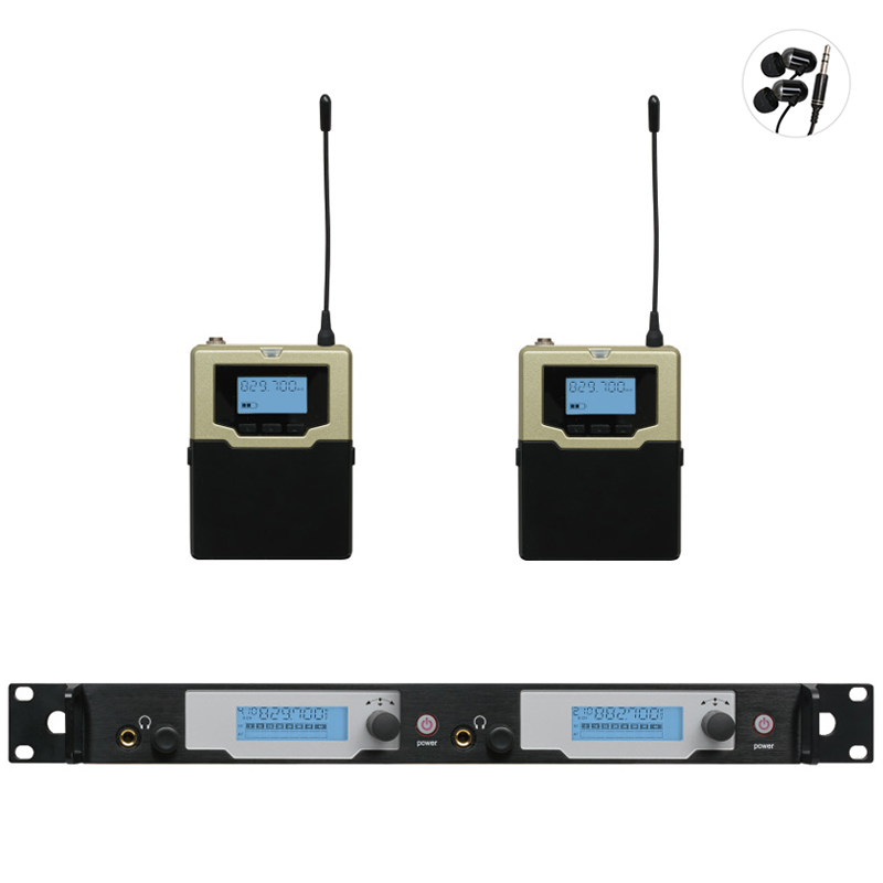 Wireless Personal In-ear Monitor System UHF Monitoring in ear monitor system Metal bodyapck Receiver Listening back for stage