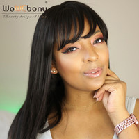 WoWEbony 100% Indian Remy Hair Yaki Straight Lace Front Wigs With Bangs