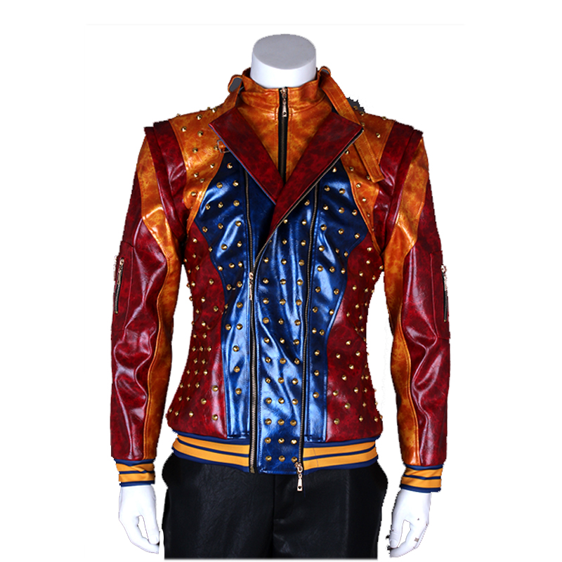 US $142 88 6% OFF|Cosplaydiy Descendants 2 Jay Cosplay Adult Mens Boys Faux  Leather Jacket Coat Tops Fancy Halloween Party Costume Custom Made-in