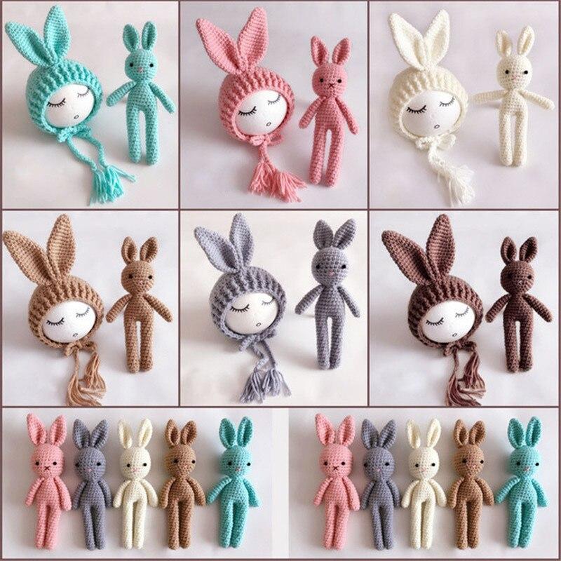 Newborn Photography Props Rabbit Crochet  Baby Hat Rabbit Toys Baby Boy Girl Photo Shoot Cap Newborn Photography Accessories