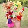 Anime Títeres de Dedo 4 unids/lote Sirena Linda Dedo Marioneta De La Felpa Historia Familiar Tiempo Euip Rendimiento Muñecas Regalo para Los Niños