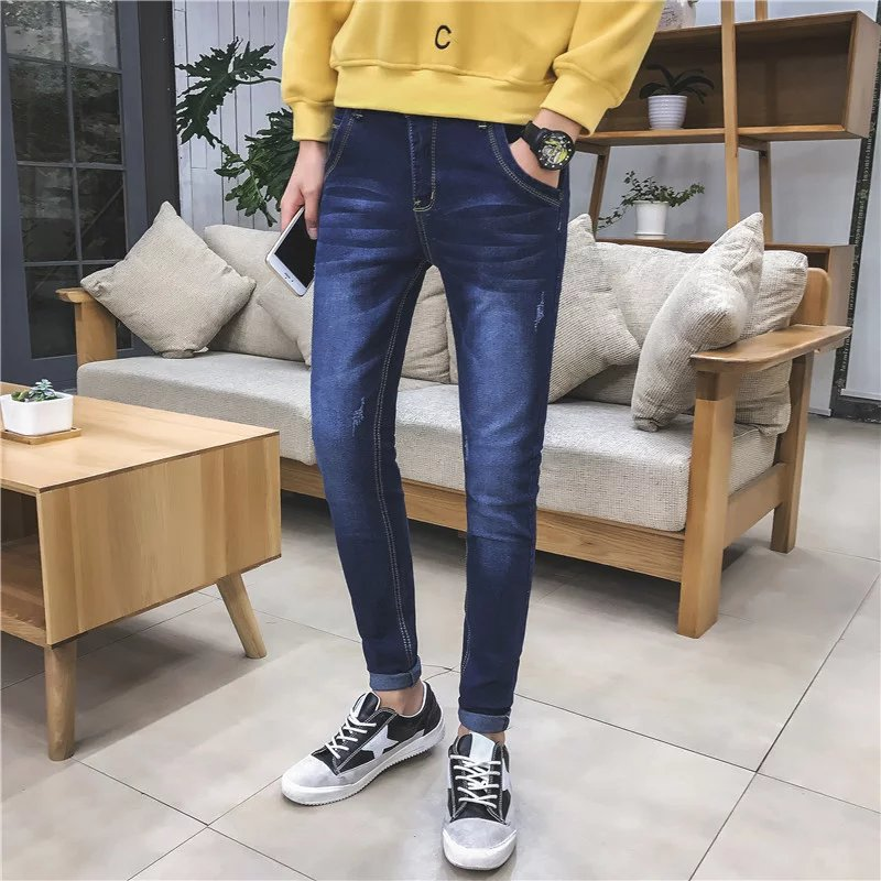 Autumn and winter youth men's jeans slim pants feet stretch Metrosexual man in blue  Skinny Jeans  new arrival XZ900 sandip chakraborty adolescents and youth health in india