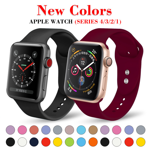 Soft Silicone Replacement Sport Band For Apple Watch Series 4/3/2/1 42mm 38mm Wrist Bracelet Strap for iWatch 4 40mm 44mm Sports
