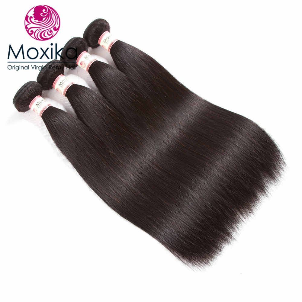 Moxika Brazilian Straight Hair 4 Bundles Natural Black Remy Human Hair Weaves Extensions Can Be Colored