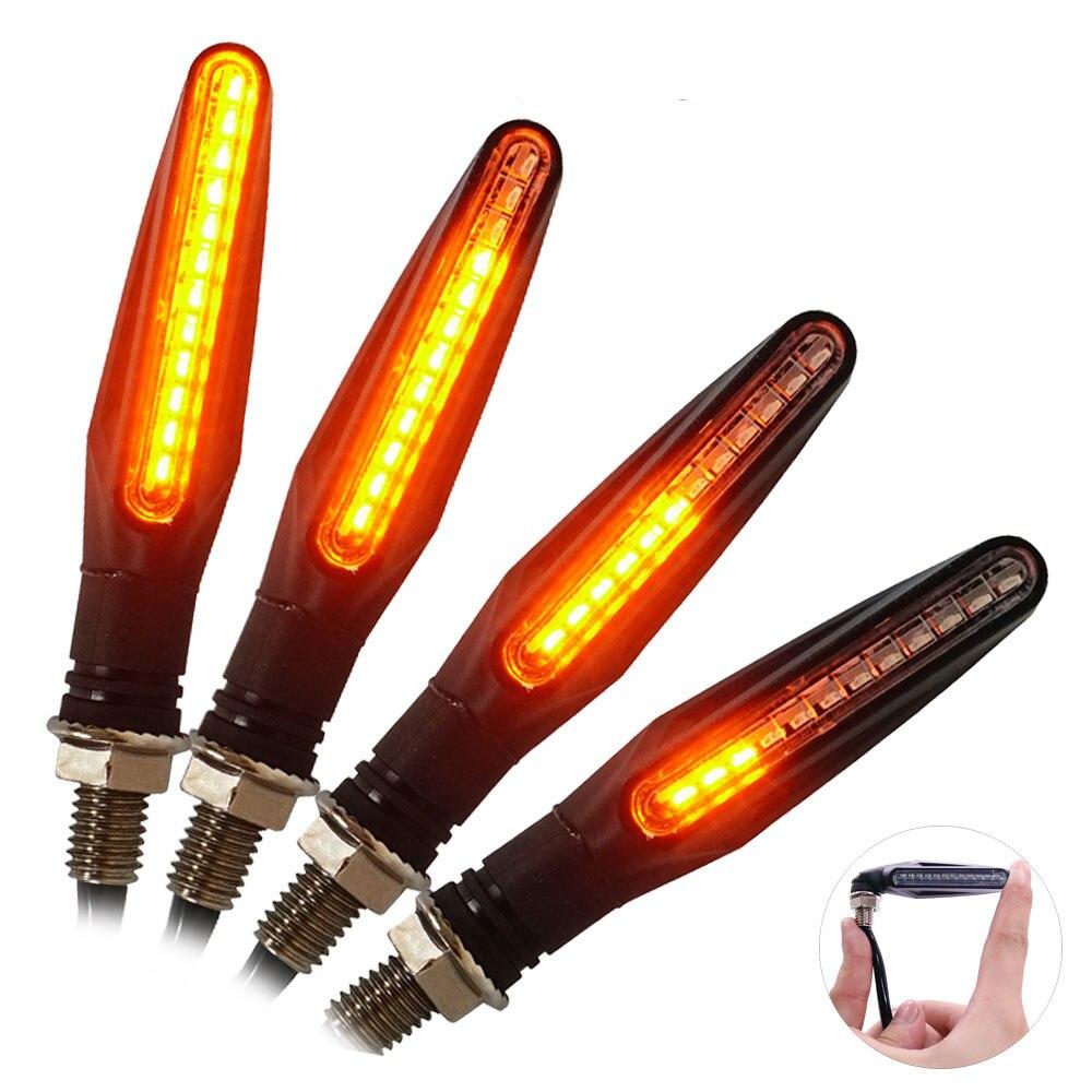 4 PCS Motorrad Blinker Licht 12 * 335SMD Schwanz Flasher LED Fließende Wasser Blinker IP68 Biegsamen Motorrad Blinkende Lichter
