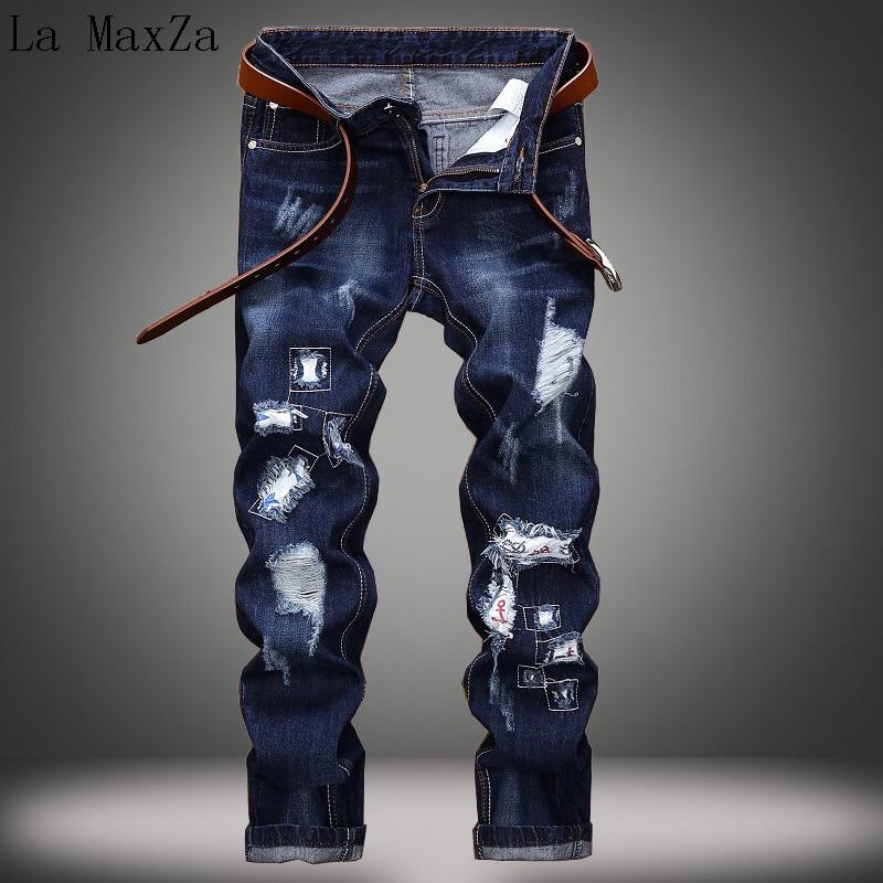 High Quality Plus Size 42 Fashion Hole Denim Jeans Straight Pants Stretch Denim Men Jeans Trousers