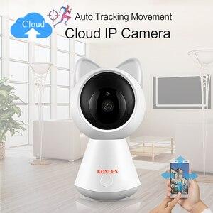 Image 2 - KONLEN cámara IP en la nube WIFI 1080P, 720P, HD, seguimiento automático, inalámbrica, CCTV para el hogar, cámara de seguridad para bebés con inclinación panorámica, tarjeta SD P2P infrarroja
