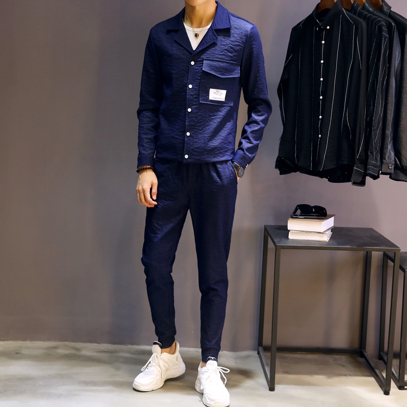 Chemises Ensembles Slim 2 Style Pantalon Noir Fit De Survêtement Hommes Veste Pcs veste Streetwear Casual Manteau Mince bleu Hop Mode Mâle Hip Pantalon A558wTqr