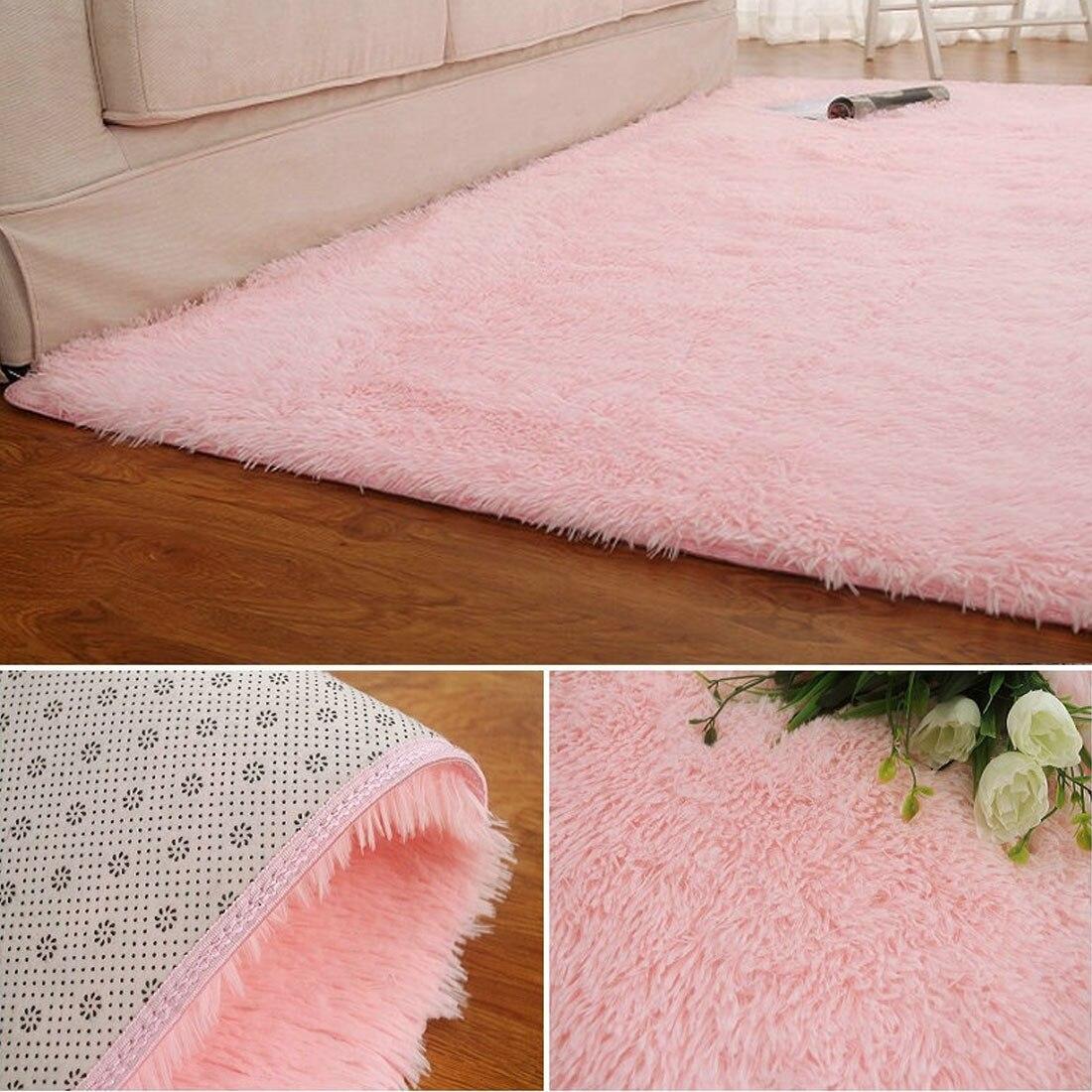 Anti Skid Fluffy Shaggy Area Rug Home Room Carpet Floor Mats