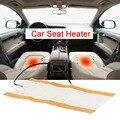 1 Pair 25W Car Seat Heater Universal Round Switch Carbon Fiber Heated Pads Seat Warmer Car Seat Heat Cushion DC 12V