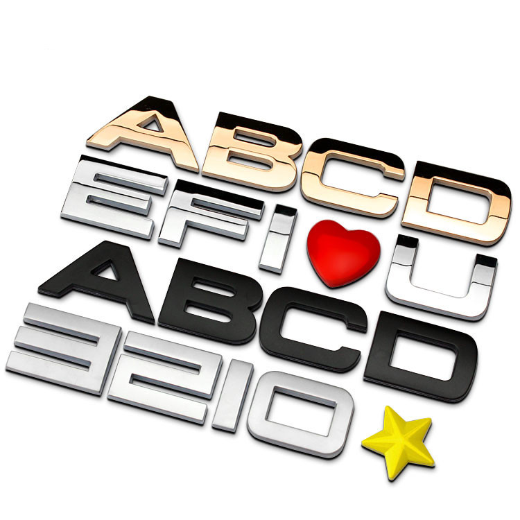 1piece 30mm black gold letters number metal chrome car emblem badge 3d car stickers refitting customize