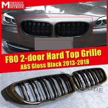 1 Pair F80 Front Bumper Grille ABS Material Gloss Black For 2-doors Hard top Double Line Slats Kidney 2013-18