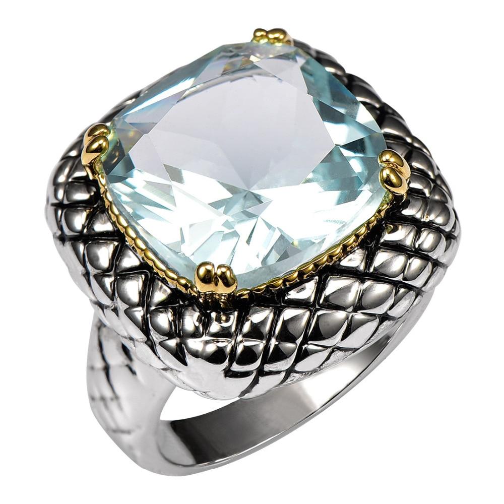Szimulált Aquamarine 925 ezüst gyűrű gyári gyári ár nőknek és férfiaknak. Méret: 6 7 8 9 10 11 F1516