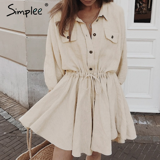 Simplee Elegant linen short shirt dress women Long sleeve cotton dress buttons female vestidos Vintage summer dresses casual