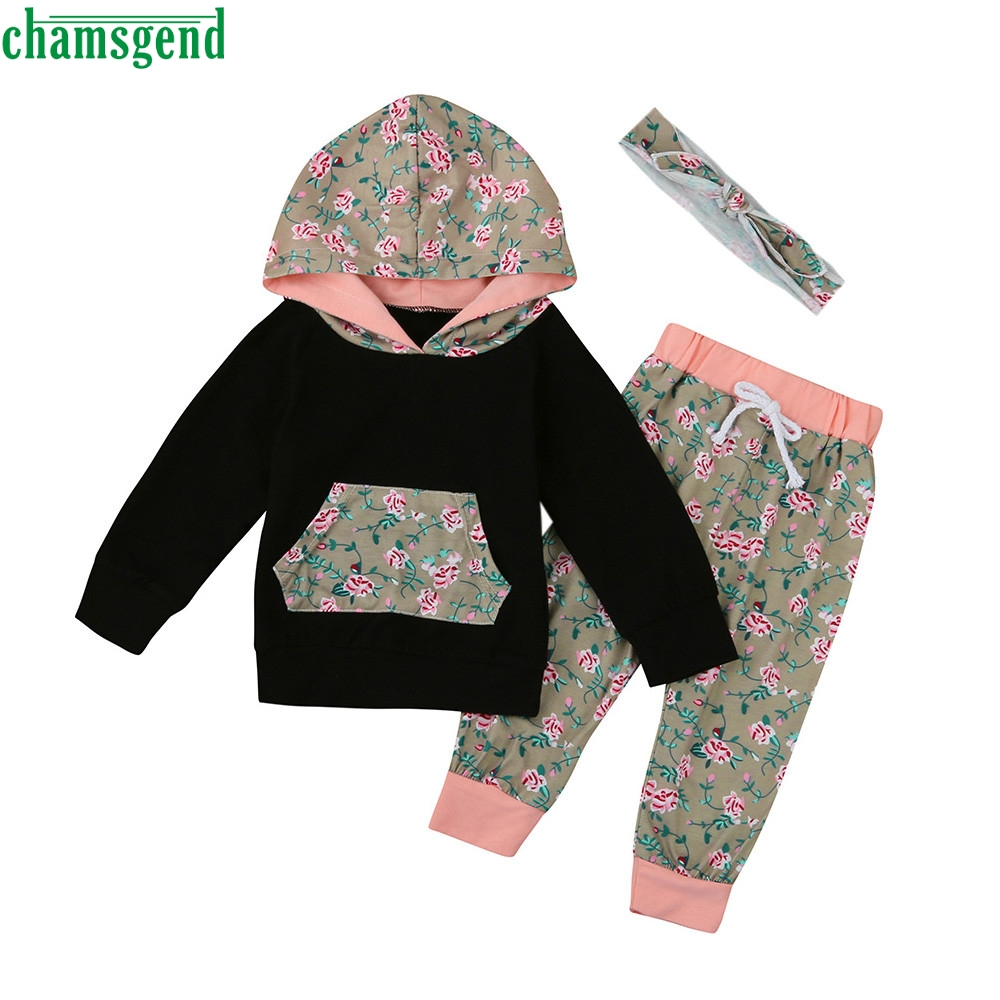 2018 cute Black Toddler Infant Baby Girl Boy Clothes Set Floral Hooded sweater Tops+Pant ...